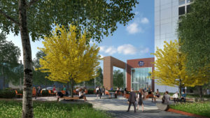 Plaza Rendering of Menlo Gateway Project, Menlo Park by Bohannon Development Company, Heller Manus Architect